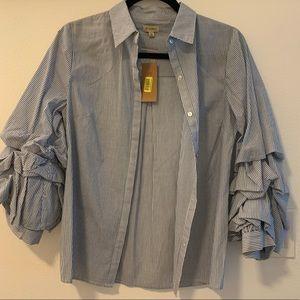 Cremieux bell bottom ruffle blouse